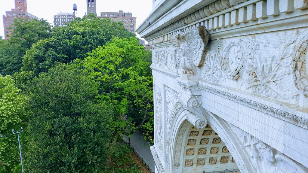 High on the Washington Square Arch